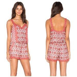 Joie Sophy Silk Printed Sleeveless Romper, Coral